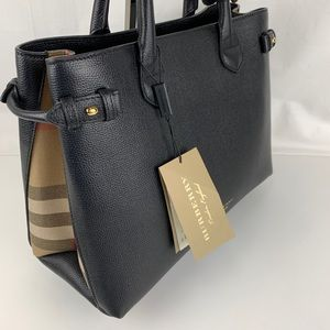 New Burberry Banner House Check Leather Tote